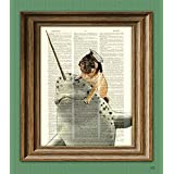 Captain Grumble the Sea Pug Riding His Narwhal Steed, Noodles Art Print Beautifully Upcycled Dictionary Page book Art Print Pug On a Narwhal