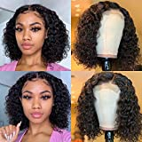 4x4 Curly Short Bob Wig Natural Black Color Lace Front Closure Human Hair Wigs Curly Brazilian Virgin Hair Wig for Women Middle Part Lace Bob Wigs (10 inch)