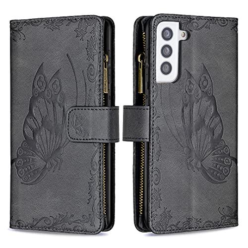 Lavender1 Hoes voor mobiele telefoon voor Samsung Galaxy S21 Plus hoes leren hoes portefeuille premium beschermhoes leer PU flip TPU stootvaste tas vlinder kaartenvak magneet case met Galaxy S21 Plus (zwart)