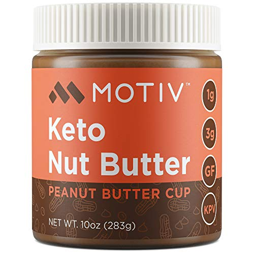 MOTIV Keto Peanut Butter - Low Carb Nut Butter - Peanut Butter Cup - Natural Unsweetened No Sugar Added - Low Calorie, Healthy, Diabetic & Keto Friendly