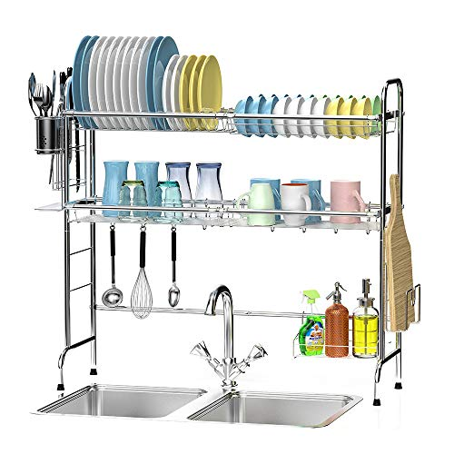 Over The Sink Dish Rack Ace Teah Large Dish Drying Rack with Utensil Holder Hooks