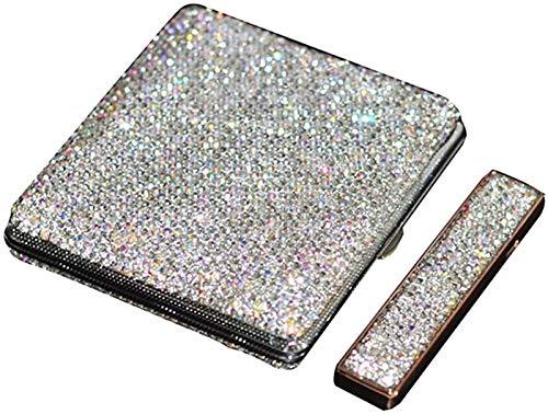 AADEE Funda para cigarrillos, de lujo, con diseño de diamante brillante para mujer, funda de cigarrillos, carcasa de aluminio, para mujeres, hombres y mujeres (con encendedor de cigarrillos)
