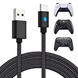 10ft Charger Cable for PS5 DualSense and Xbox Series X|S Controller, YUANHOT USB Type C Fast Charging Cord with LED for PlayStation 5, Xbox Series, Switch Pro Controller & More [Only for Charging]
