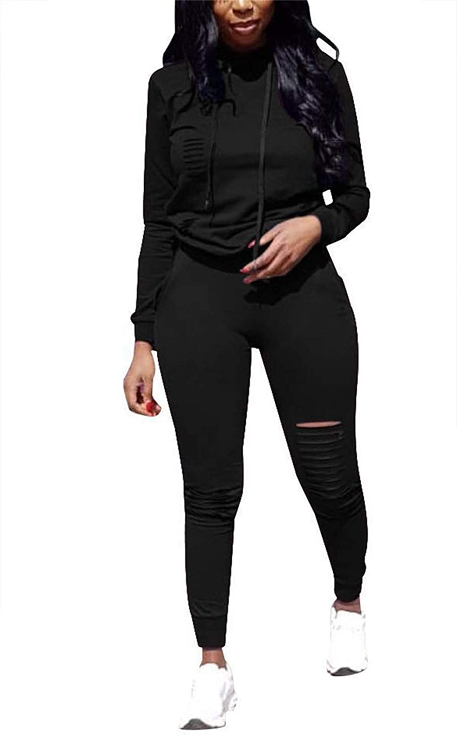 EOSIEDUR Women's 2 Piece Athletic Outfits Long Sleeve Ripped Pullover Hoodie - Bodycon Joggers Pants Sets
