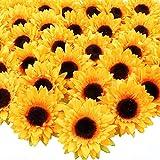 AGEOMET 32pcs 3.5' Fake Sunflowers, Artificial Sunflower Heads, Faux Silk Sunflower Decoration for Craft Home Party Wedding Decor