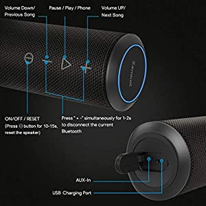 Waterproof Bluetooth Speakers Portable Wireless, 24W Enhanced X-Bass & 360 Degree Sound, 15 Hours Play Time, TWS, IPX6 Portable Speaker for Home, Travel, Party (Black)