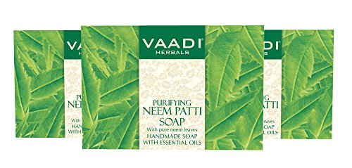 Neem Soap (Neem Leaves Bar Soap) - Handmade Herbal Soap (Aromatherapy) with 100% Pure Essential Oils - ALL Natural - Prevents Premature Aging - Each 2.65 Ounces - Pack of 3 (8 Ounces) - Vaadi Herbals