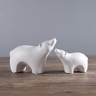 ardax Ceramic Polar Bear Figurines Sets, Home Decor Animal Sculptures and Statues Handmade Artware Gifts (White, 2)
