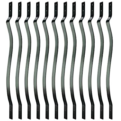 Myard 32-1/4 Inches Aluminum Balusters with Screws for Facemount Railing Fencing, European Baroque Silhouette Wrought Style (50-Pack, Matte Black)