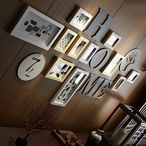 TAO Mur de cadre Cadre photo collage Solide bois cadre photo creative photo mur classique décoration murale étude salon cadre photo (Couleur : Primary color+white)