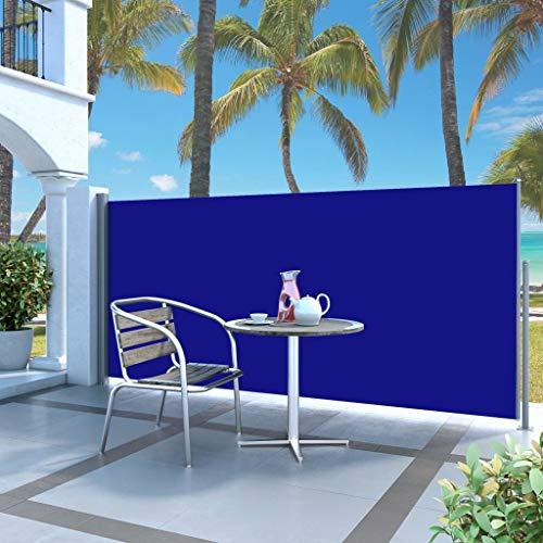 Festnight Seitenmarkise 300 x 120 cm Blau | Sichtschutz Sonnenschutz Windschutz Wasserfest | Markise für Garten Balkon Terrasse