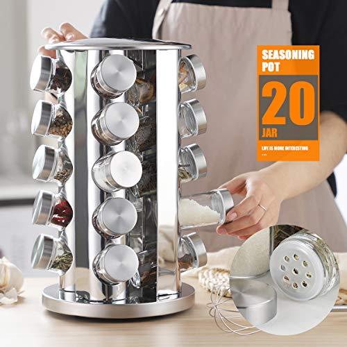 Spice Rack, 20-Jar spice organizer, Rotating Spice Holder Shelf For Kitchen Cabinet Organizer