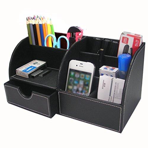 Organizador de escritorio multifuncional-Portalápices piel PU 7compartimentos/caja almacenaje soporte con un cajón almacenamiento tarjetero/teléfono portátil/papelería/grapadora/mando a distancia