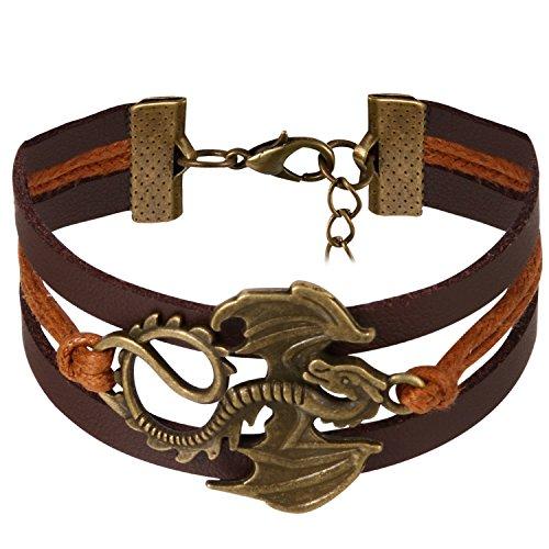 JewelryWe Schmuck Freundschaft Armband, Vintage Fliegende Drache Pterosaurus mit Flügel Leder Legierung Seil Charm Armreif Wickelarmband, Braun Bronze