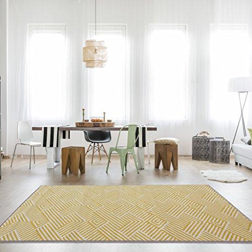 The Rug House Tradicional Alfombra Milán para Sala de Estar con diseño patrón Alineado en Colores Ocre Amarillo Mostaza y Dorado Claro 160cm x 230cm
