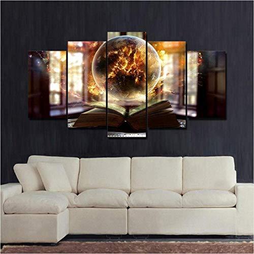 Modulaire Impressions Sur Toile Peinture 5 Pièces Fille Abstrait Paysage Lonely Planet Photos Home Decor Starry Sky Terre Affiche Mur Art