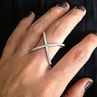 汐雨 シルバー色のリングファッションジルコンラインストーン象嵌細工でデートパーティー結婚式の宝石類のギフトの女性のヴィンテージクロスX形状クリスタルリング (Ring Size : 6)
