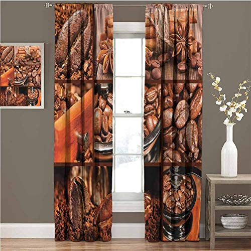 June Gissing Brown Best Home Fashion Thermal Insulated Blackout Curtains Antique Grinder Coffee Beans 2 Panel Darkening Curtains W96 x L84