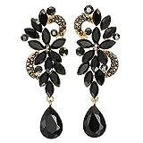 Arte Deco Negro Rhinestones Cristal Cluster Chandelier Araña Luces Floral Lágrima Largo Statement Declaración Pendientes