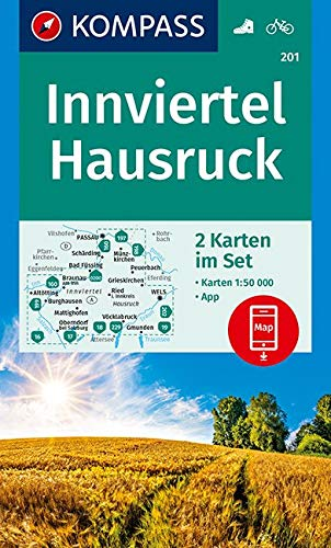 KV WK 201 Innviertel, Hausruckwald 2-K-Set: 2 Wanderkarten 1:50000 im Set inklusive Karte zur offline Verwendung in der KOMPASS-App. Fahrradfahren. (KOMPASS-Wanderkarten, Band 201)