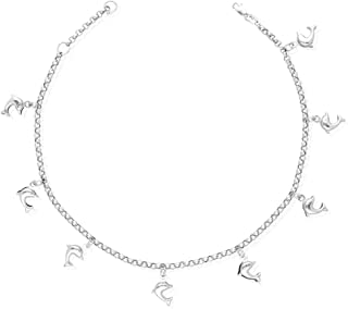 PriceRock Sterling Silver 9 1in ext 5 Fancy CZs Anklet 9 Inches Long