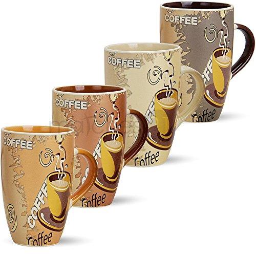 matches21 Große Tassen Becher Kaffeetassen Kaffeebecher Modern Coffee aus Keramik 8er Set je 12 cm / 350 ml
