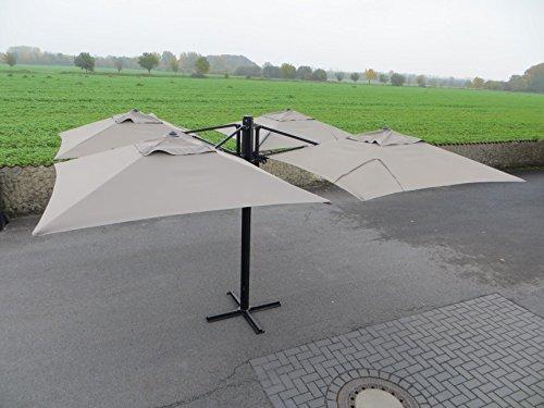 Madison Gastronomie Gartenschirm Murano IV mit Vier separat verstellbaren Schirmen in Taupe, UV-Schutz 40 Plus