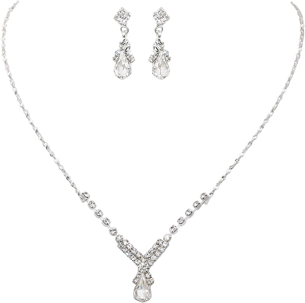Rosemarie Collections Women's Simple Teardrop Hypoallergenic Crystal Fashion Jewelry Set