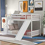 SOFTSEA Kids Twin Over Twin Bunk Bed with Stairs, Juniors Wood Low Profile Bunk Bed with Slide and Storage Space Multifunctional Design(White(Bunk))