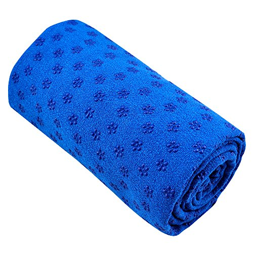 Accessotech Sport Fitness Reise Yoga-Matte Bezug Handtuch Decke rutschfeste Pilates, blau