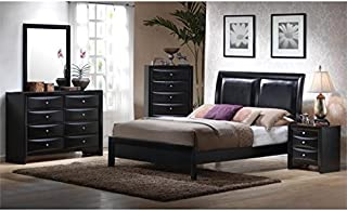 BOWERY HILL 5 Piece Queen Panel Bedroom Set in Black