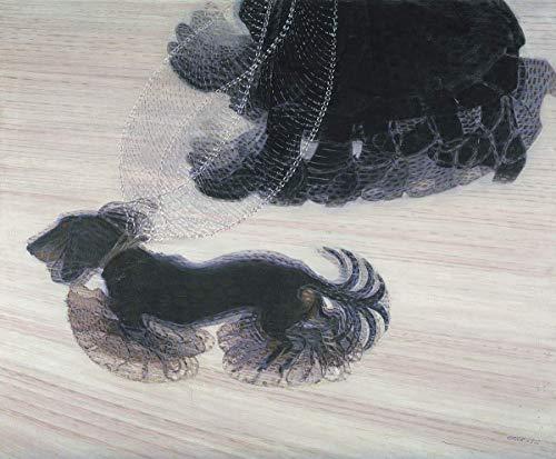 Giacomo Balla Giclee Imprimir en lienzo-Pinturas famosas Arte fino Póster-Reproducción Decoración de pared(El dinamismo dice un perro con una correa El dinamismo de un perro con una correa) #XFB