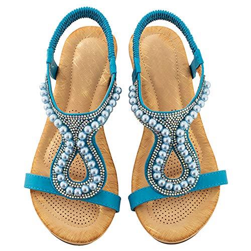 Damen Flach-Sandalen Sommer-Bohemia Strand-Sandaletten mit Strass Blau 39 EU