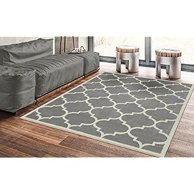 Ottomanson Paterson Collection Contemporary Moroccan Trellis Design Lattice Area Rug, 5'3  x7'0, Grey