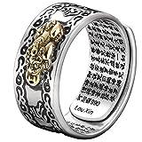 Anillo de plata 99 PiXiu budista con corazón sutra para hombres y mujeres, anillo Feng Shui de apertura ajustable, amuleto de mantra riqueza y suerte, regalo