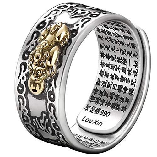 OUTEYE 99 Plata PiXiu Budista corazón Sutra Anillo para Hombres Mujeres Feng Shui Anillo Apertura Ajustable Mantra Amuleto Riqueza Anillo de la Suerte Regalo