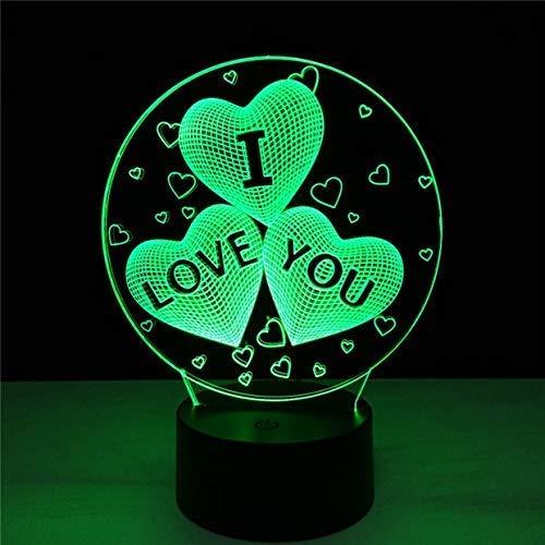 ¡El mejor regalo de bodas!Toque Cambiar color 3D Amor Corazón Luz de noche Dormitorio romántico Aniversario Novia Pareja Amantes