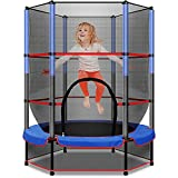 55 Inch Trampoline for Kids with Enclosure Net Connected with Jumping Pad, Triple Tree Toddler Trampoline Built-in Double Zipper, Mini Trampoline with Elastic Ropes, Max Load 120lbs