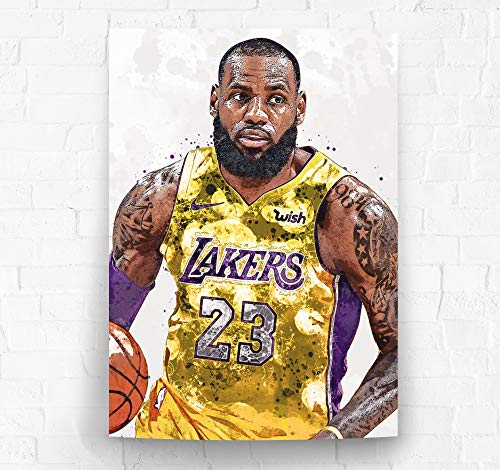Lebron James Los Angeles Lakers Poster/Canvas Print - Basketball Artwork - Kids Room Wall Decor - Man Cave - Sports Decor - Birthday Gift Idea (Premium Poster, 24 x 36 Inches) image