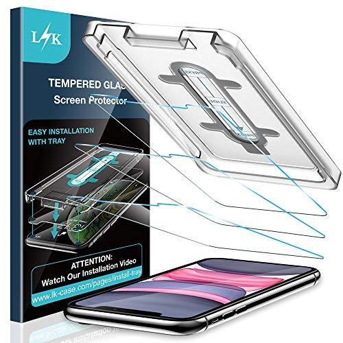 LK Panzerglas kompatibel mit iPhone 11/XR, [mit Schablone], 3 Stück, 6.1 Zoll, 9H Härte Panzerglasfolie, HD Klar Schutzfolie, Anti-Kratzen, Blasenfrei
