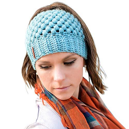 Tacobear Mujer Gorros de Punto con Coleta Beanie Sombrero Invierno Suave Cálido Elástico Ponytail Beanie Hat para Mujer (Azul)