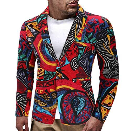 Hombre Chaqueta Entallada con Botón Retro Impreso Chaqueta de Traje Nuevo Blazer Chaqueta de Vestir Casual Manga Larga Cardigan para Hombre Traje Blazer Abrigo Tops vpass