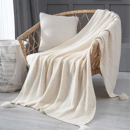 Nicole Knupfer Kuscheldecke Strickdecke, Gestrickte Decke mit Quaste, Weiche Überwürfe für für Sofa, Bett (Beige,130 * 170cm)