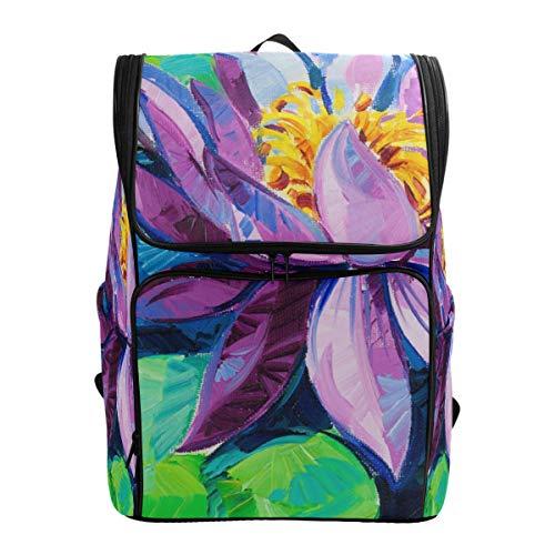 Fantazio Blooming Lotus Sac à Dos pour Ordinateur Portable Sac à Dos de Voyage randonnée Camping Sac à Dos décontracté Grand Format