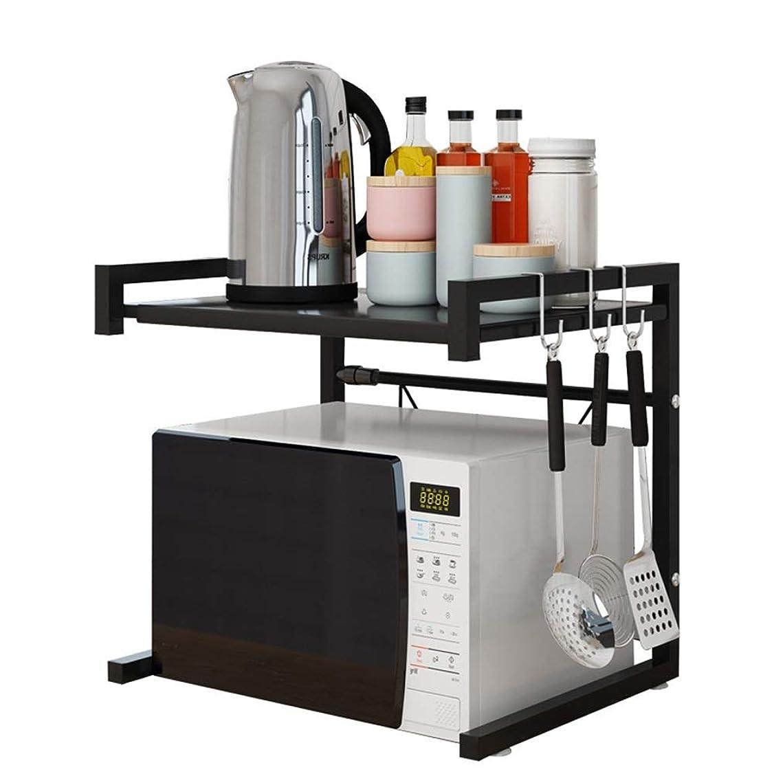 ストレッチマラウイ強調するレンジ台 レンジボードキッチン棚 電子レンジ棚多機能キッチンカウンター棚電子レンジラック膨張式炭素鋼 (色 : ブラック, サイズ : 65X36X42CM)