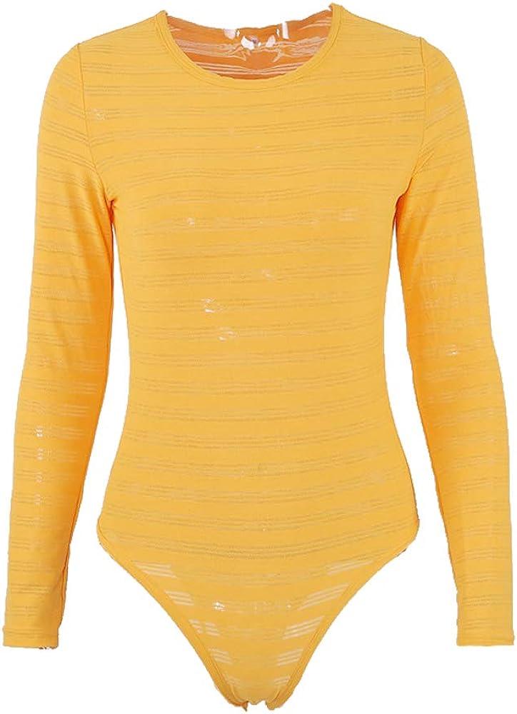 BOZEVON Women's Basic Long Sleeve Bodysuit Scoop Neck Leotard Stretchy Top