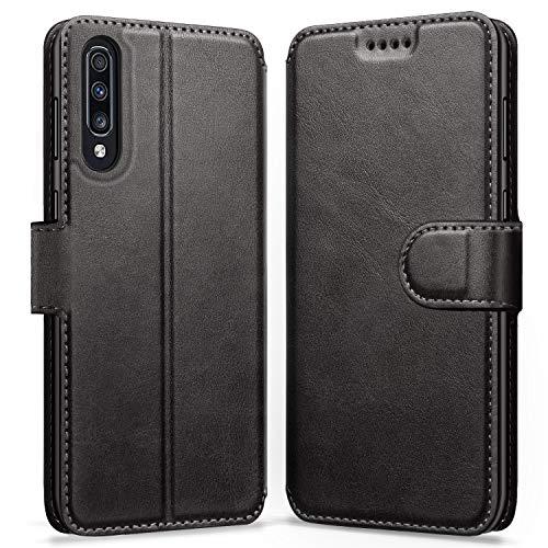 ykooe Handyhülle für Samsung Galaxy A70 Hülle, Hochwertig PU Leder Handy Schutz Hülle für Samsung Galaxy A70 Flip Tasche, Schwarz