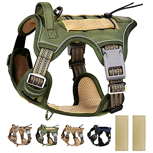 PETAGE Tactical Service Dog Harness No Pull, Reflective Military Dog Harness with Handle, Service Dog Vest for Training, Adjustable Working Pet Vest Easy Control for Small Medium Large Dogs(Green,S)