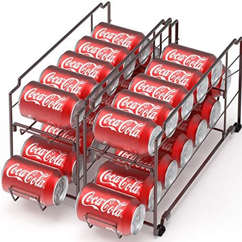 2 Pack - Stackable Beverage Soda Can Dispenser Organizer Rack, Bronze