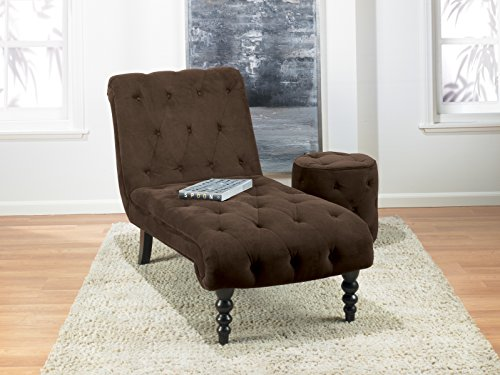 Ave Six Curves Tufted Chaise Lounge with Espresso Finish Solid Wood Legs, Chocolate Velvet Fabric